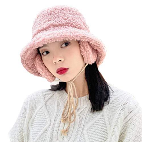 kyman Sombrero de Cubo Elegante, Mujer de Invierno Faux Fleece Cubierto de Cuenco con Sombrero con Correa de la Barbilla de la Polla Pescador Cap de Pescadores Caki (Color : Pink)