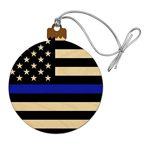 GRAPHICS & MORE Thin Blue Line American Flag Wood Christmas Tree Holiday Ornament