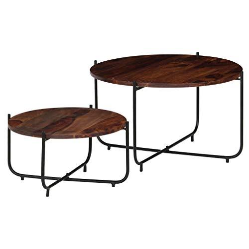 Festnight Lots de 2 Table Basse Style Industriel Bois de Massif pour Salon/Balcon 60 x 35 cm