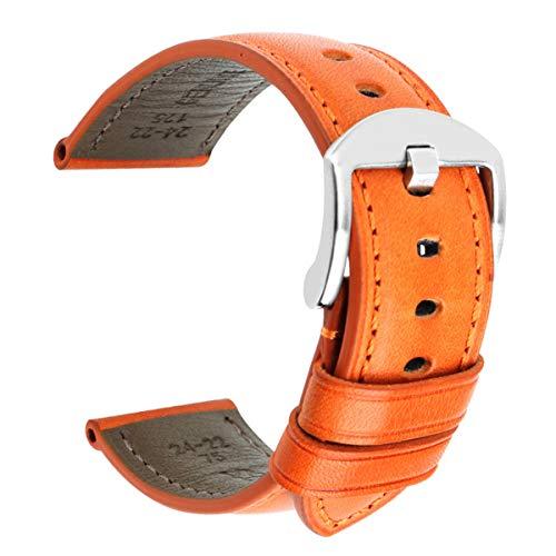 Bracelet de Montre en Cuir 20mm 22mm 24mm Hommes Bracelet avec Boucle en Acier Inoxydable Regarder la Bande Orange-S, 20 mm