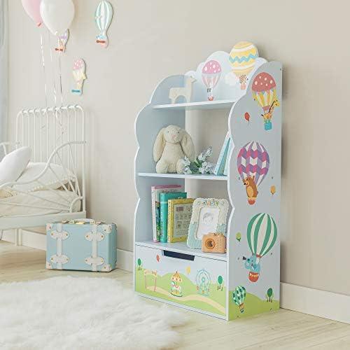 Fantasy Fields Hot Air Balloon Bookshelf 3 Tier Shelf and 1 Toy Storage Drawer Nursery Room product image