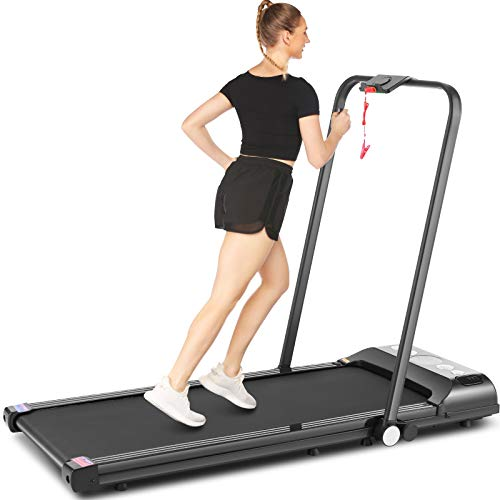 SYTIRY 2-in-1 Foldable Treadmill, Home Treadmill with LED...
