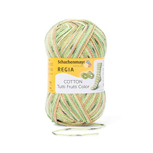 REGIA 4-fädig Cotton Tutti Frutti 9801621-02418 kiwi Handstrickgarn, Sockengarn, 100g Knäuel