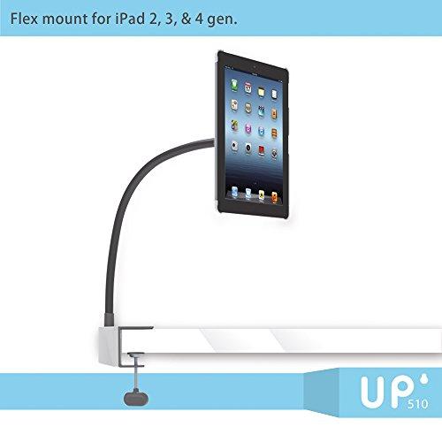 Exelium UP510 Set für iPad 2/3/4: Tischhalterung, Wandhalterung & Standfuß, Schwanenhals, frei beweglich, mit Schutzhülle, weiß