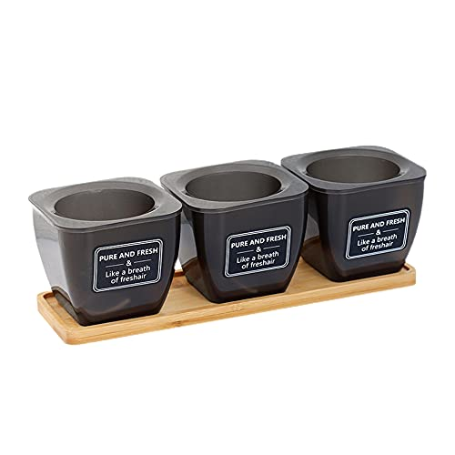 3-teilig Kräutertopf, Kräutertopf mit Bewässerungssystem, Selbstbewässerung Gourmet Kräutertopf, Pflanztöpfe für Kräuter zum Anpflanzen Eigener Kräuter zum Kochen (A)