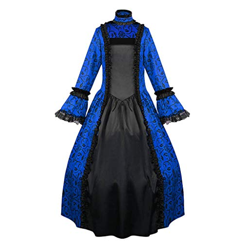 F_Gotal Plus Size Womens Renaissance Over Long Dress Masquerade Gown Steampunk Vampire Halloween Hooded Costume
