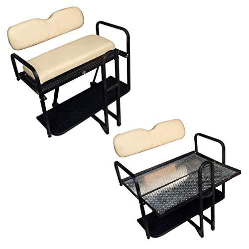 Performance Plus Carts Club Car Precedent Golf Cart Flip Folding Rear Back Seat Kit - Buff Seats