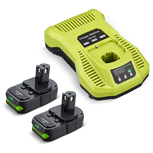 Powerextra 2Pack 18V Replacement Battery & Charger Compatible for Ryobi 18v Lithium Battery 18V ONE + P108 P107 P104 P105 P102 P103 Tools Charger with 260051002 P117 P118 P113 BCL1418