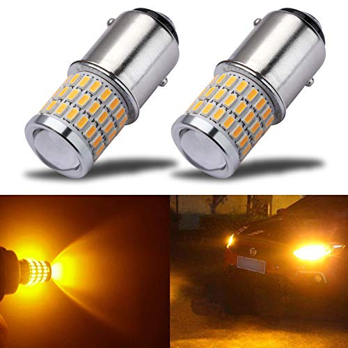 iBrightstar Newest 9-30V Super Bright Low Power 1157 2057 2357 7528 BAY15D LED Bulbs with Projector replacement for Turn Signal Lights and Brake Lights, Amber Yellow