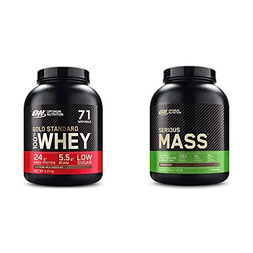 Optimum Nutrition Gold Standard 100% Whey Proteine in Polvere con Proteine Isolat ed Aminoacidi + Serious Mass Gainer, Proteine Whey in Polvere per Aumentare la Massa Muscolare con Creatina