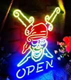 "T56 Pirate Open neon Light 17""×13"" bar Signs Real Glass NEON Sign 3 Year Warranty Beer Bar Pub Recreation Room Game Light"