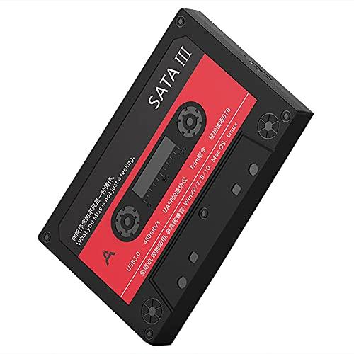 RUMUI 2.5 Pulgadas USB 3.0 SATA HDD SSD Caja de Disco Duro Externo a Disco USB Disco Duro de Estado sólido nostálgico de 6 Gbps para computadora portátil