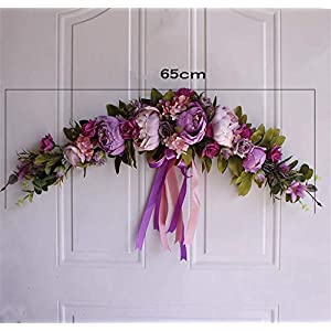 Artificial Light and Hot Rose Wreath for in or Outdoors – Home Grave Wedding,B