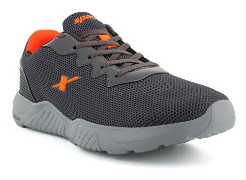 8. Sparx Men Dark Grey Neon Orange Sports Shoes