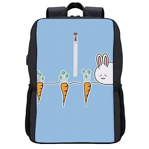 Süßer Osterhase mit Karotten Rucksack Tagesrucksack Büchertasche Laptop Schultasche mit USB-Ladeanschluss
