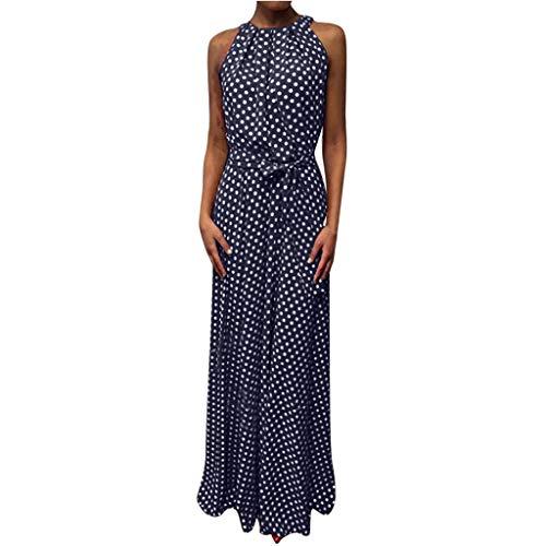GreatestPAK Sommerkleid Damen Freizeit Tupfenmuster Ärmellos Strandkleid