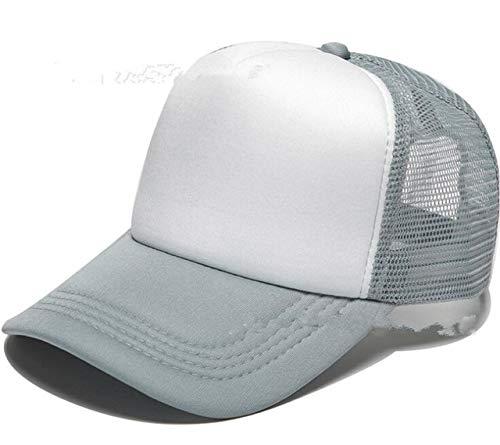 Polister Hombres Mujeres Gorra de bisbol Malla Snapback Imprimir Logo Sombrero de Camionero-Grey and white-54-58(Adult)