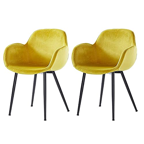LeChamp Set of 2 Modern Dining Chair Velvet Accent Living Room Chair with Metal Legs Upholstered Armchair for Kitchen Bedroom Club Guest Reception Chairs Leisure Chair Yellow