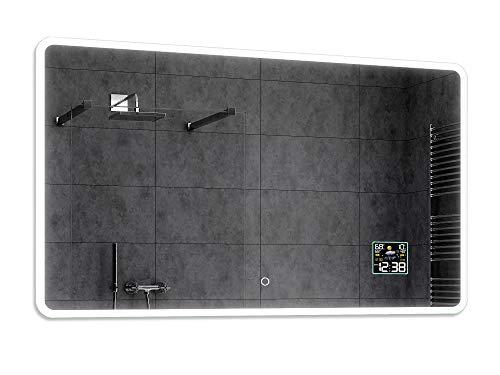 Alasta® Badkamerspiegel met LED-Verlichting - 120x70 cm - Model Osaka - Spiegel met Aanraaklichtschakelaar en Weerstation P2