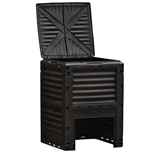 Outsunny Compostador Capacidad de 300L Compostera Orgánica para Producción Abono de Jardín Exterior con 48 Respiraderos 60,5x60,5x81,5 cm Negro