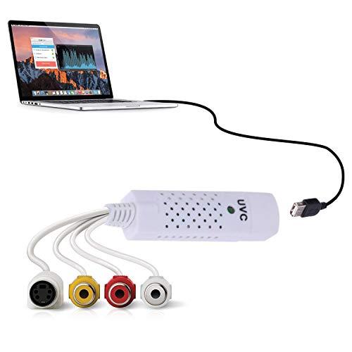 KafooStore VHS Digitalisieren - Abspielgerät für hi8 Videokassetten - Audio und Videoaufnahme - VHS auf DVD Überspielen - Video Grabber Kompatibel mit Windows 10, 8, 7, Vista, XP