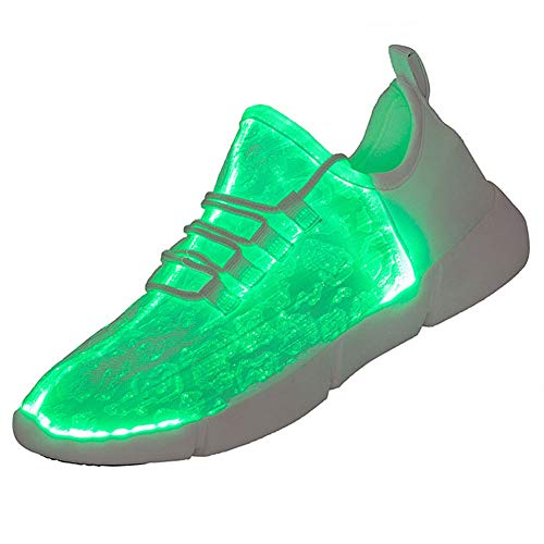 Yopaseeur Women LED Shoes Light Up Fiber Optic Sneakers Shoes for Men with USB Charging Flashing Festivals Party Dance Luminous Kids Shoes Red