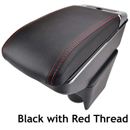 Reposabrazos de piel negra de doble capa para 2010-2017 Polo Mk5 Vento, consola central, caja de almacenamiento, reposabrazos