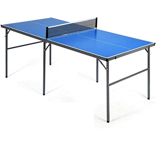 HPW Portable Folding Design Table Tennis Ping Pong Table with 1 Net 2 Ping Pong Bats 3 Balls Premium Table Top Aluminum Pipes Structure Multiple Usage Can Be Used As Gaming Table Picnic Table