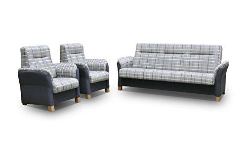 mb-moebel Polstergarnitur Sofa Set 3er Couch & 1er Wohnlandschaft 3-Sitzer und Zwei Sessel Möbel Set - Anna II (Blau)