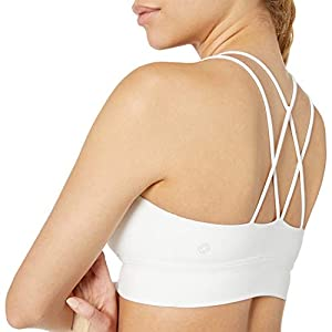 Amazon Brand - Core 10 Women's Strappy Longline Plunge Yoga Bralette Sports Bra, White, Medium