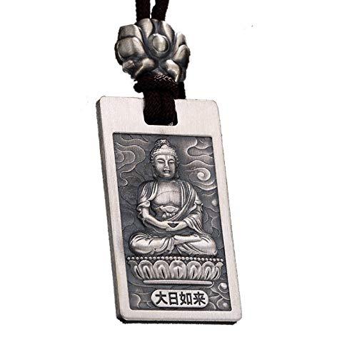 Collar con Colgante De Buda Bodhisattva Amuleto Colgante Joyería Fine Dioses Guardianes Unisex Regalo para Hombre Y Mujer Plata De Ley 999 con Caja Regalo
