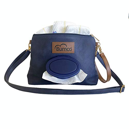 Baby Bumco Crossbody Diaper Clutch Bag -Vegan Leather; Lightweight; Refillable Wipes Dispenser; Portable Changing Kit (Navy)