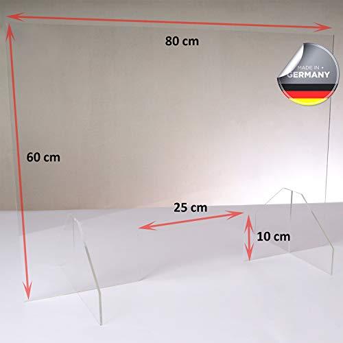 Queence | Premium-Tröpfchenschutz aus Acrylglas | Husten-Schutz für Ärzte und Apotheken | Niesschutz | Tresenaufsteller, Größe:80x60 cm