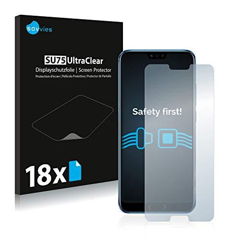 Savvies 18x Schutzfolie kompatibel mit Honor 10 Displayschutz-Folie Ultra-transparent