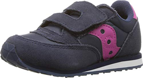 Saucony baby boys Jazz Hook & Loop Sneaker, Navy/Pink, 5.5 Toddler US