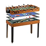 NILS Multifunktionstisch 4in1 Spieltisch Tischfussball Hockey Tischtennis Billard Tischspiel Multigame für Kinder Erwachsene