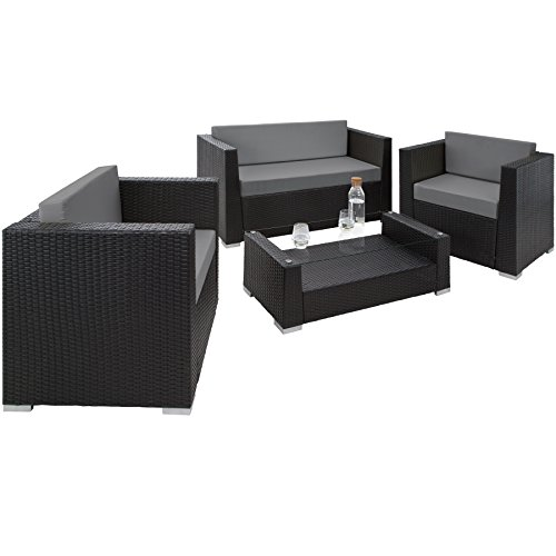 TecTake 800904 Rattan aluminium garden furniture sofa set with glass table, upholstery + 4 extra pillows with stainless…