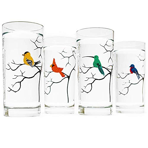 Glassware Set of 4 Birds Highball Glasses Made in the USA