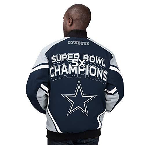 Dallas Cowboys Stiff Arm 5 Time Super Bowl Champions Cotton Twill Jacket - Navy (Large)