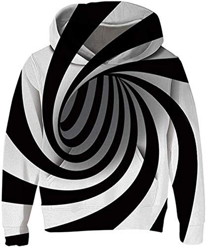 Boys Girls Fleece Hoodie 3D Printed Long Sleeve Pullover Sweatshirt with Pocket 5-16 Years-C-Black Vortex_6-7 Years