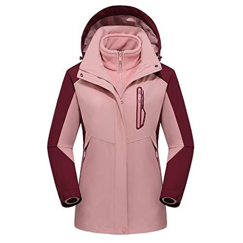 Deloito Damen Mode Windjacke Zweiteilig Wetterfest Funktionsjacke Abnehmbarer Liner Regenmantel Atmungsaktiv Draussen Sport Trenchcoat Mit Kapuze (Rosa,XX-Large)