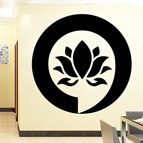 LSMYM Firmar Mandala Buda Lotus Adhesivos de pared para el dormitorio Decoración para el hogar Adhesivo de flores Calcomanías adhesivas de vinilo Deco de pared Azul M 30cm X 29cm