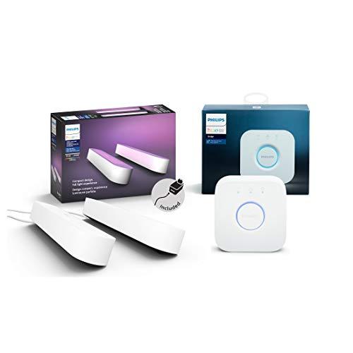 Philips Hue White and Color Ambiance Play Lightbar Doppelpack inkl. Hue Bridge, dimmbar, bis zu 16 Millionen Farben, steuerbar via App, kompatibel mit Amazon Alexa, weiß