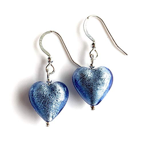 Diana Ingram earrings with cornflower blue Murano glass small heart drops on Sterling Silver or 22 Carat gold vermeil hooks