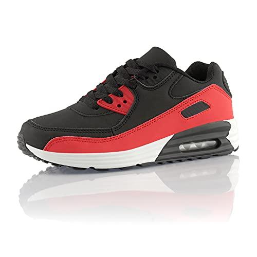 Fusskleidung® Damen Herren Sportschuhe Dämpfung Sneaker leichte Laufschuhe Schwarz Rot Weiß EU 38