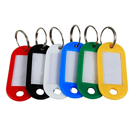 niceEshop Assorted Colors Key ID Tags Ring Keyring Keychain with Label Window, 60 Assorted Color 6 x 10 Black, Blue, Green, Yellow, Red and White 1