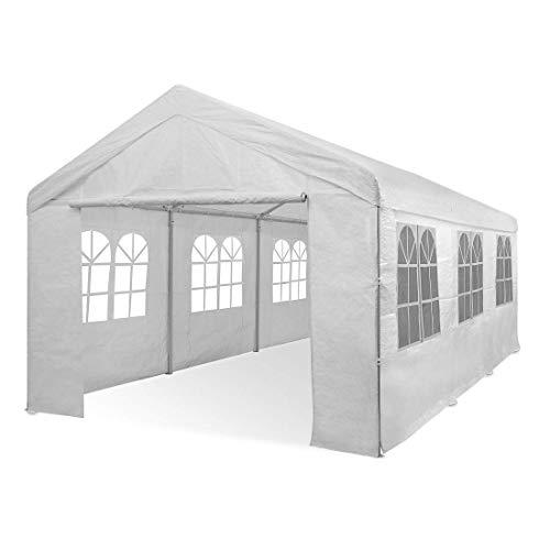 Deuba® Partyzelt 6x3m Pavillon Festzelt Carport Bierzelt Gartenzelt Familienzelt Zelt 12 Rundbogenfenster 18m² Modellauswahl