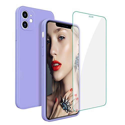 Square iPhone 11 Case with Screen Protectors and Install Accessories iPhone 11 Silicone Cases for Women Men Girl Square iPhone 11 Silicone Rubber Cover Fundas iPhone 11 Periwinkle