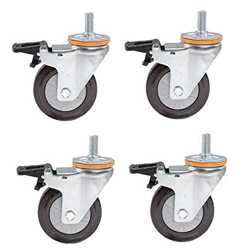 ZXL wieltjes (4 stuks) M14M16 schroeven universele wielen met remmen rubberen wielen met golven riemschijven riemschijven 4 inch schroeven Silent Machine Wheels