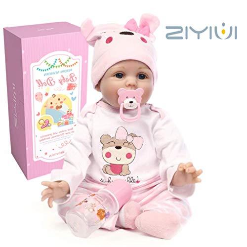 ZIYIUI 22 Pollici 55 cm Puro Fatto a Mano Baby Doll Reborn Bambola Silicone Morbido Vinile Baby Doll, Bel Regalo per Bambini